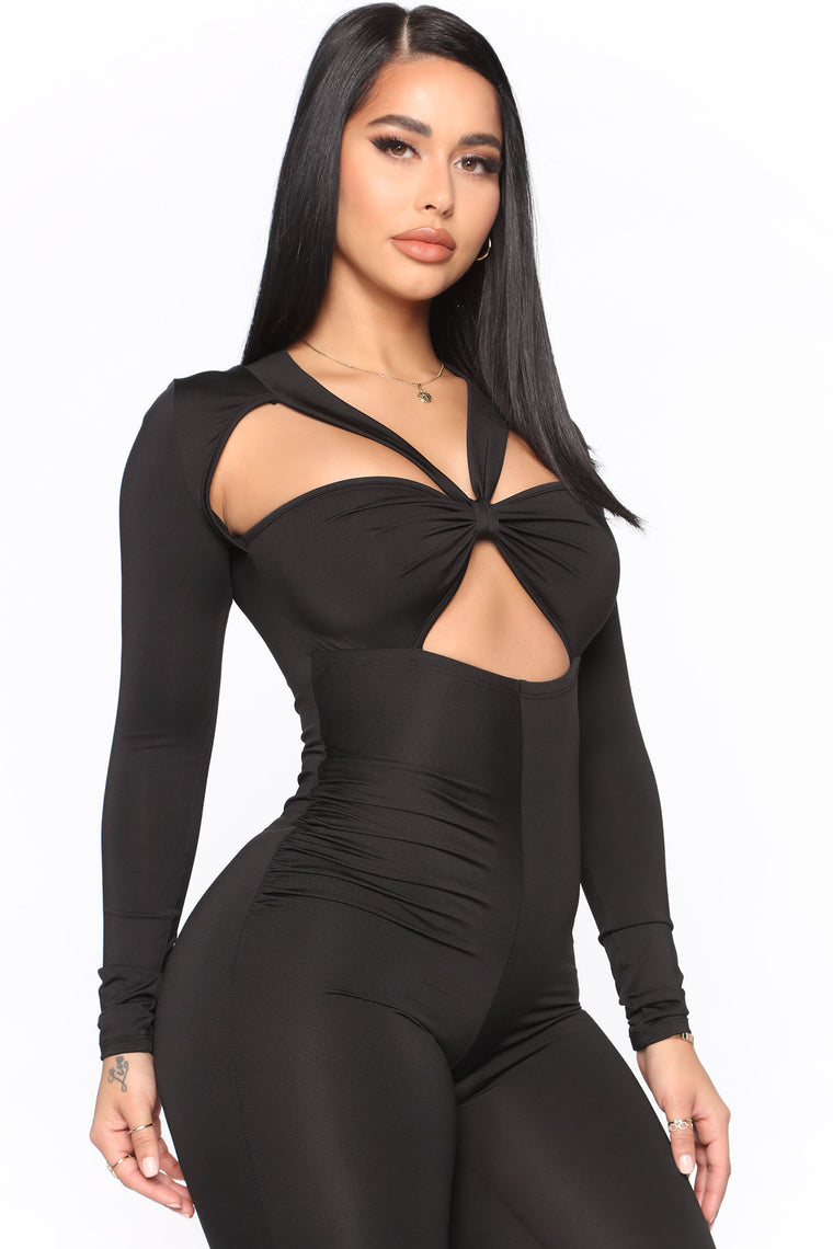 Cutting Him Out Jumpsuit - Black