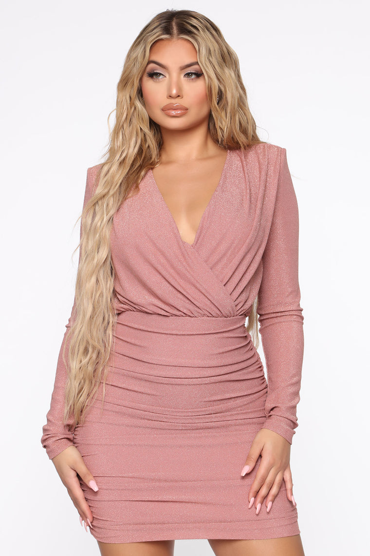 Your Hint Of Shimmer Metallic Mini Dress - Mauve