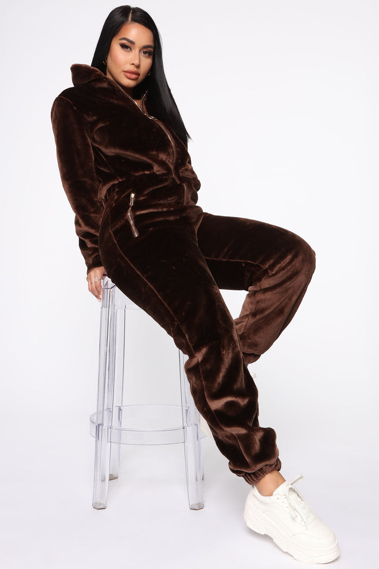 The Yazzy Bear Faux Fur Jumpsuit - Brown