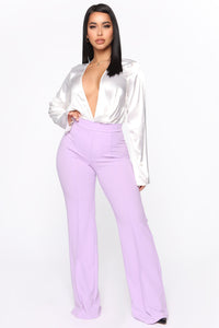 Victoria High Waisted Dress Pants - Lavender Angle 1