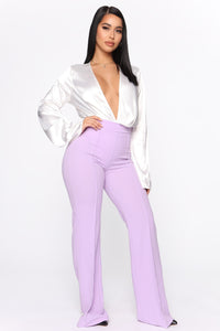 Victoria High Waisted Dress Pants - Lavender Angle 4