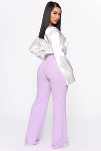 Victoria High Waisted Dress Pants - Lavender Angle 6