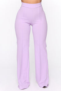 Victoria High Waisted Dress Pants - Lavender Angle 3