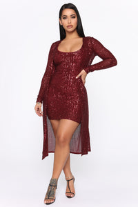 Glam Doll 2 Piece Sequin Dress Set - Burgundy Angle 1