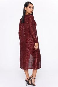 Glam Doll 2 Piece Sequin Dress Set - Burgundy Angle 4