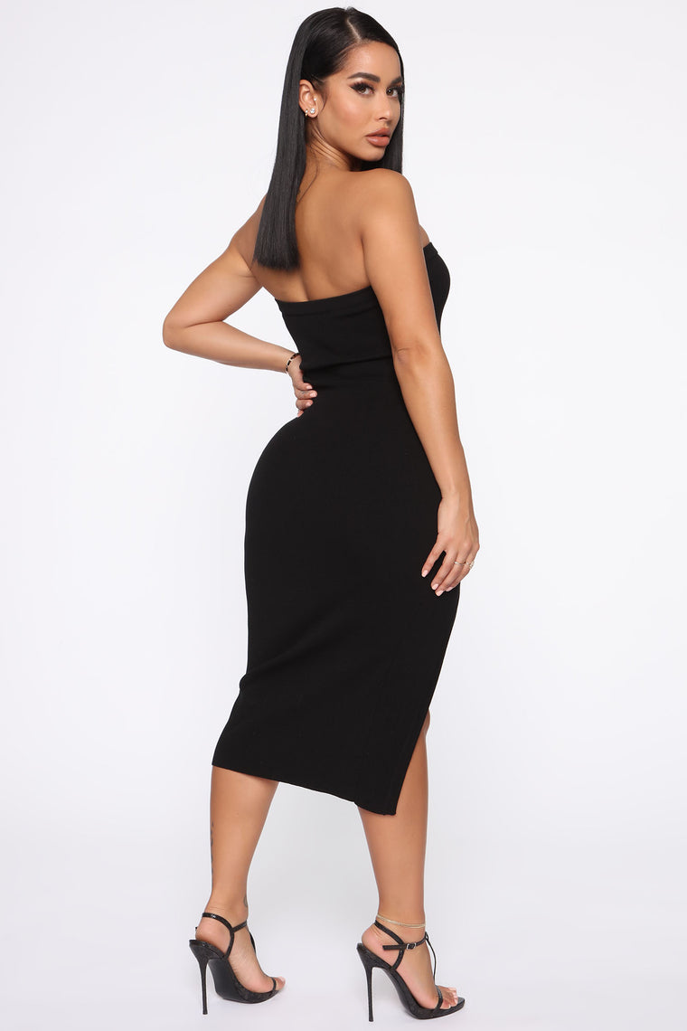 Don't Fool Me Tube Midi Dress - Black