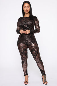 Taking The Night Sequin Set - Black/Rose Angle 1