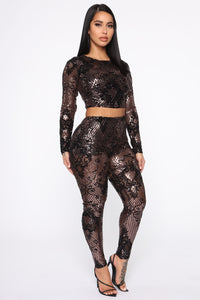Taking The Night Sequin Set - Black/Rose Angle 3