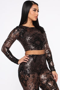 Taking The Night Sequin Set - Black/Rose Angle 4