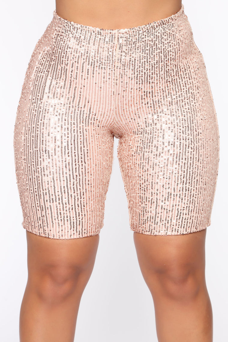 Ready Or Not Sequin Biker Shorts   Nude by Fashion Nova