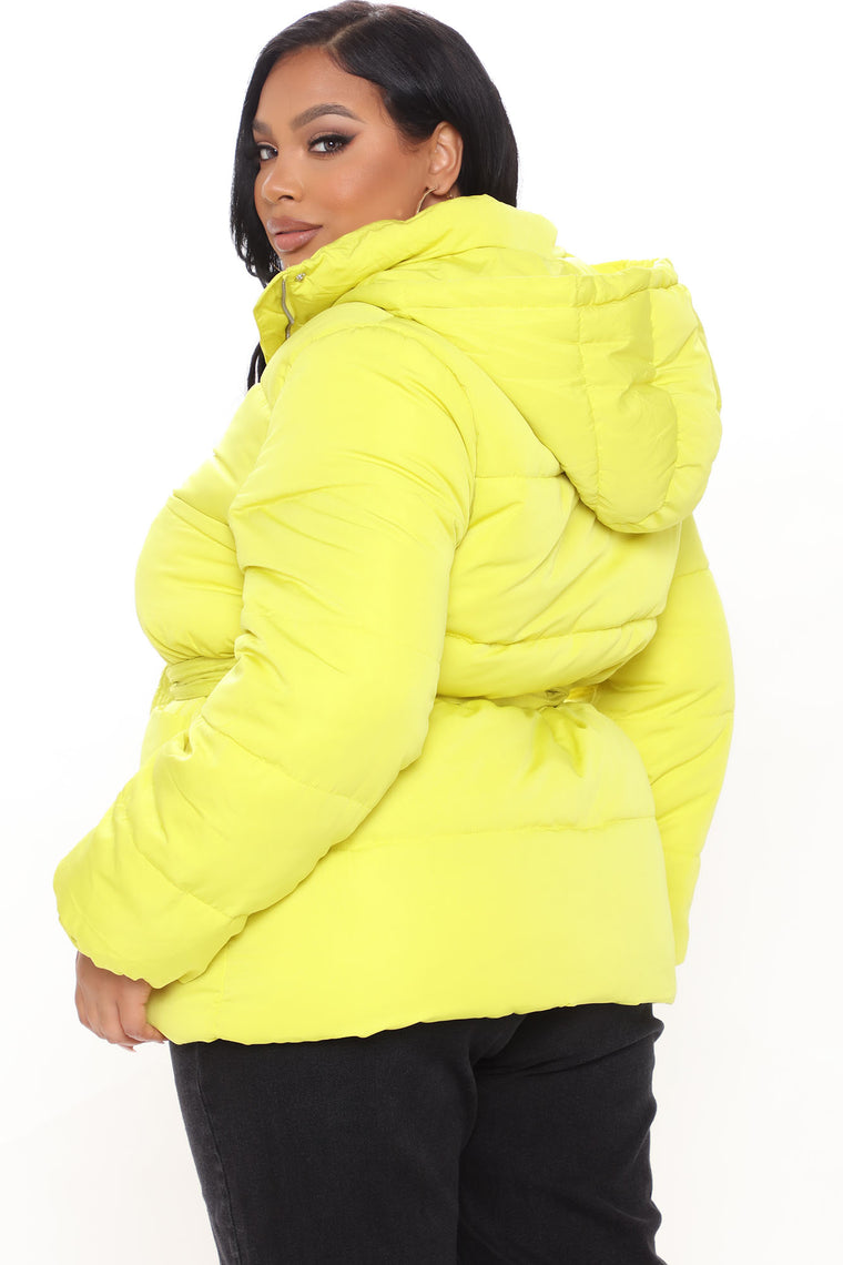 No Problems Here Puffer Jacket - Lime