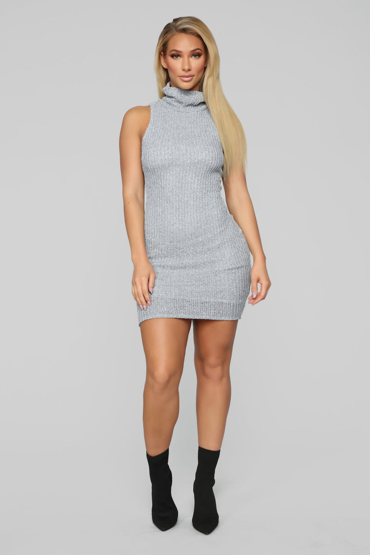 Something For Everything Sweater Dress - Grey