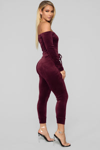 Need A Hug Velour Jumpsuit - Burgundy
