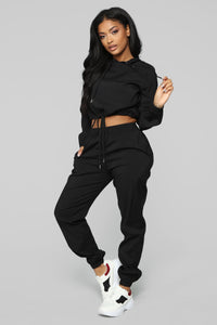 Lianna Lounge Windbreaker Set - Black