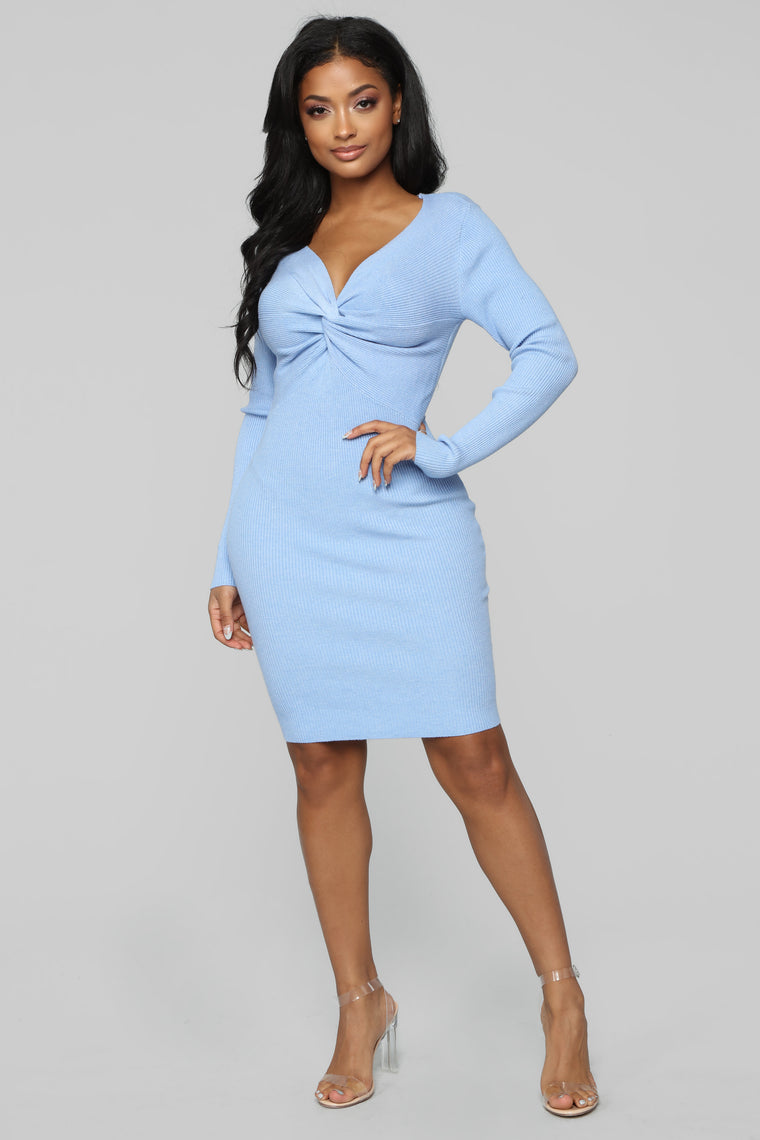 Won't Let You Fall Sweater Dress - Light Blue