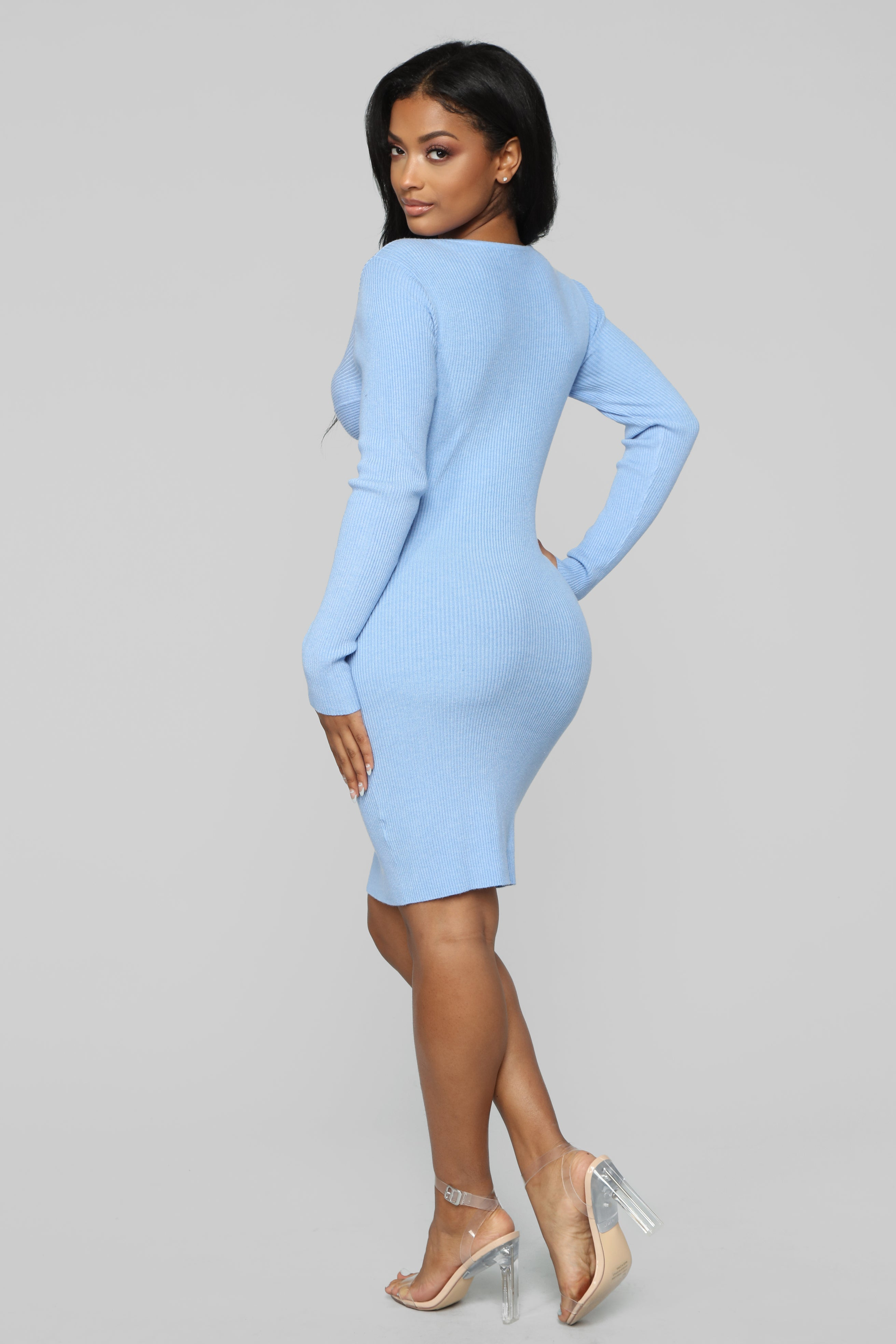 Won T Let You Fall Sweater Dress Light Blue