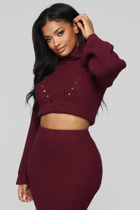 Warm Me Up Skirt Set - Burgundy