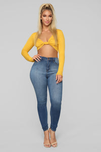 Knot In The Mood Top - Mustard Angle 2