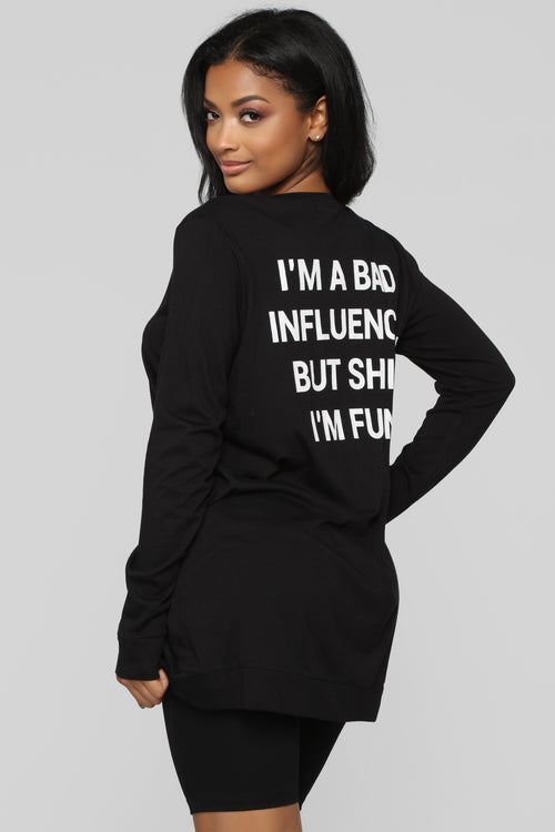 Bad Influence LS Tunic Top - Black