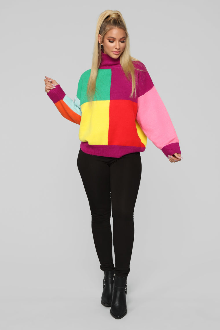 Fresh In Bel Air Sweater - Magenta/Combo