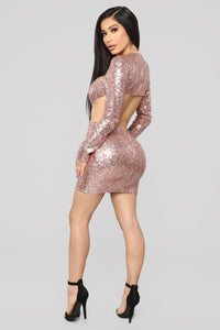 The Part Can Now Begin Sequin Dress - Rose Gold