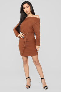 In My Possession Sweater Dress - Brown