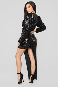 Glam To Perfection Sequin Dress - Black
