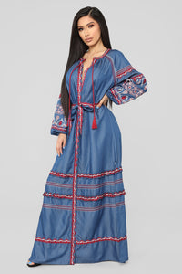 Nothing More Embroidered Maxi Dress - Denim Blue Angle 1