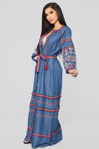 Nothing More Embroidered Maxi Dress - Denim Blue Angle 3
