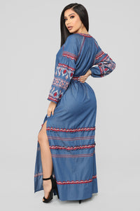 Nothing More Embroidered Maxi Dress - Denim Blue Angle 4