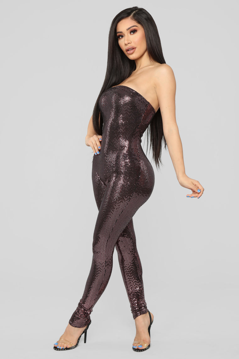 Glitter Nights Jumpsuit - Pink
