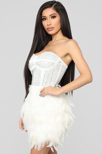 Secret Gossip Feather Dress - White