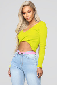 Twisted Sista Top - Neon Yellow Angle 1