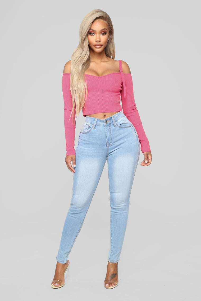 Today's Mood Cold Shoulder Top - Neon Pink