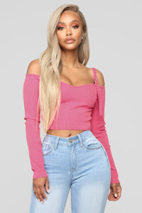 Today's Mood Cold Shoulder Top - Neon Pink Angle 1