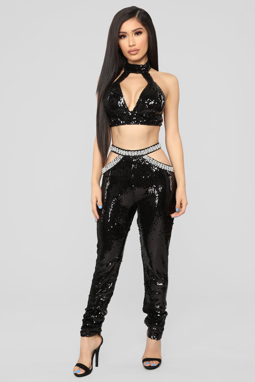 Pull You In Sequin Set - Black