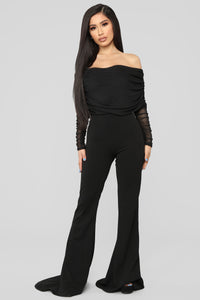 Kendall Ruched Jumpsuit - Black Angle 1