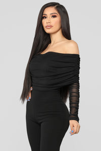 Kendall Ruched Jumpsuit - Black Angle 4