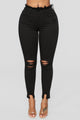 Check Mate Distressed Skinny Jeans - Black