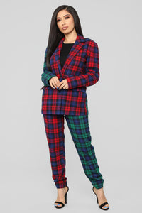 Are You Down Plaid Set - Red/Green Angle 1