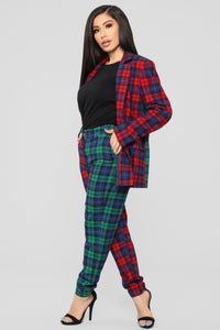 Are You Down Plaid Set - Red/Green Angle 3