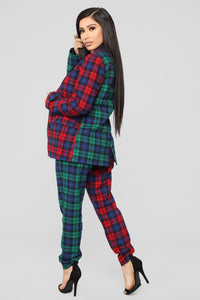 Are You Down Plaid Set - Red/Green Angle 5