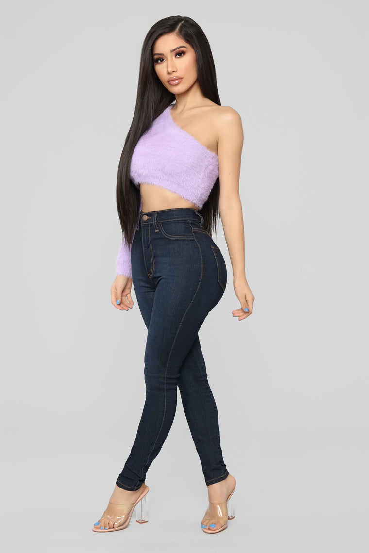 Fuzz What You Heard One Shoulder Sweater - Lavender