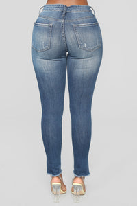 Stack It Up High Rise Skinny Jeans - Medium Blue Wash