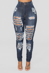 Get It Distressed Skinny Jeans - Dark Denim