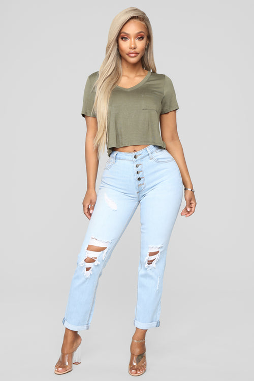 Carry Me Away High Rise Jeans - Light Blue Wash