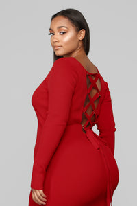 Laced With Grace Lace Up Dress - Red Angle 7