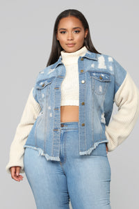 Chill With Me Jacket - Medium Wash Angle 6