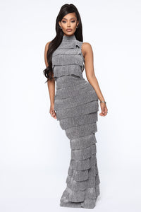 Not Usually Like This Metallic Ruffle Dress - Silver
