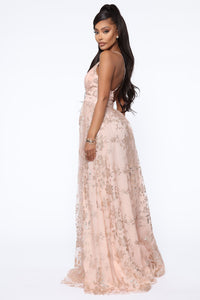 Angelic Feels Maxi Gown - Rose Gold